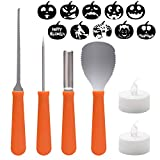 WEBSUN Pumpkin Carving Kit - 4 PCS Stainless Steel Pumpkin Carving Tools Set, 2 LED Candles, 10 Pattern Stencils & Pattern Stickers Included Perfect for Halloween Decoration