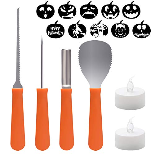 WEBSUN Pumpkin Carving Kit – 4 PCS Stainless Steel Pumpkin Carving Tools Set, 2 LED Candles, 10 Pattern Stencils & Pattern Stickers Included Perfect for Halloween Decoration