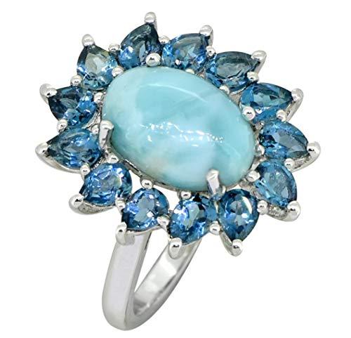 YoTreasure 1 Cts. Larimar London Blue Topaz Solid 925 Sterling Silver Flower Cluster Ring