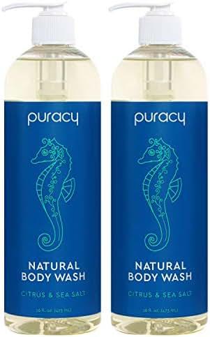 Puracy Natural Body Wash, Citrus & Sea Salt, Bath & Shower Gel for Men and Women, 16 Ounce (2-Pack)