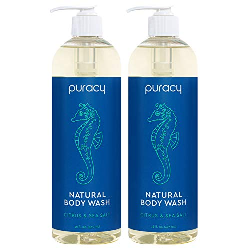 Puracy Natural Body Wash, Citrus & Sea Salt, Bath & Shower Gel for Men and Women, 16 Ounce (2-Pack) from Puracy