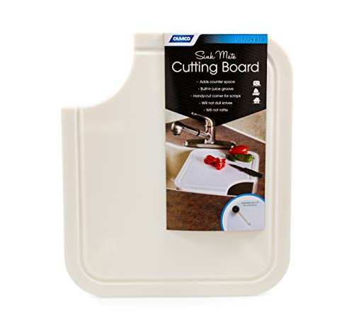 Camco Sink Mate Cutting Board - Designed For RV, Camper, and Trailer Kitchen Sinks- Create More Counter Space, Cut Corner for Scrap Release, Sturdy Design- White (43857)