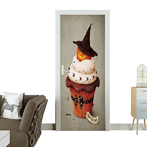Homesonne Door Sticker Wallpaper Halloween Cake,Holiday Greeting Card. Fashion and Various Pattern W17.1 x H78.7 -
