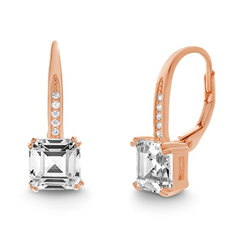 LESA MICHELE Square Emerald Cut Cubic Zirconia Leverback Bridal Gift Earrings for Women in Rose Gold Plated 925 Sterling Silver