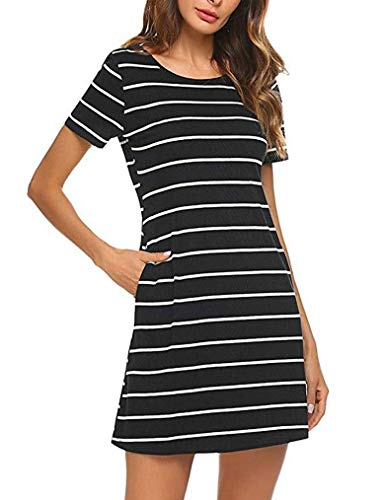 Feager Women's Casual Striped Criss Cross Short Sleeve T Shirt Mini Dress with Pockets (S, ()