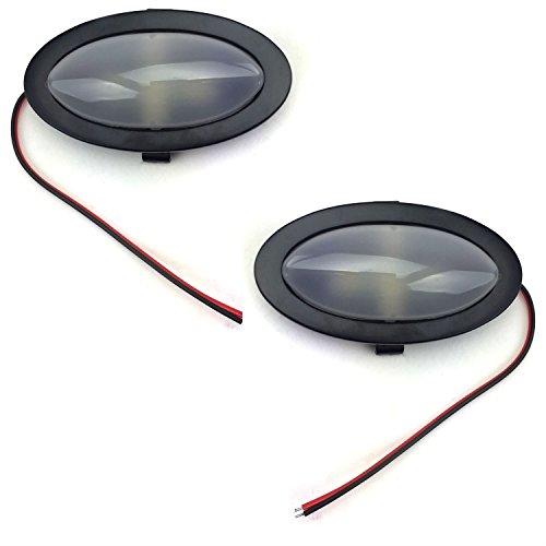 AutoLoc Power Accessories 321103 1172908 2 PC Billet Interior Courtesy Dome Lights 30 Degree Angled Bezel LED Black ()