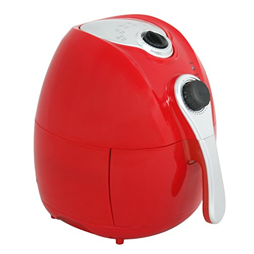 ZENY 1500W Oil Free Electric Air Fryer w/ Temperature Control 4.4QT Capacity Low-Fat Non-stick Multi-Cooker, Detachable Basket and Handle,Red (Red)