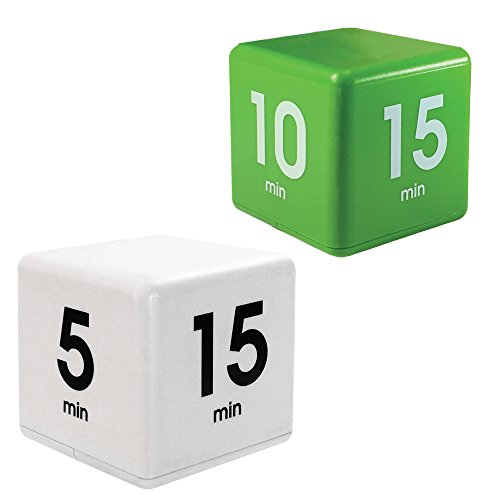 Datexx The Miracle TimeCube Timer Learning Combo for Teachers, Parents, Homeschoolers and Kids - White DF-33, Green DF-37 by Datexx
