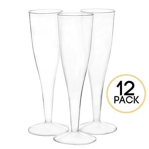 12 Premium Plastic Champagne Flutes - Bulk Champagne Glasses for Wedding or Party