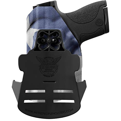 We The People - OWB Holster Compatible with Walther PPS M2 9MM Gun -  Outside Waistband Concealed Carry Kydex Holster (Left Hand, Texas Flag)