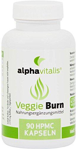 alphavitalis® VeggieBurn - Grüner Tee, Apfelessig, Guarana, Capsaicin, Piperin, Zink - 90 vegane Kapseln - für gesunden Stoffwechsel und Trainingsbooster