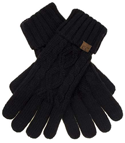 C.C Exclusives Unisex Knit Thick Warm Fuzzy Lined Solid Ribbed Glove with Smart Tips (G-707) (Cable Knit-Black)