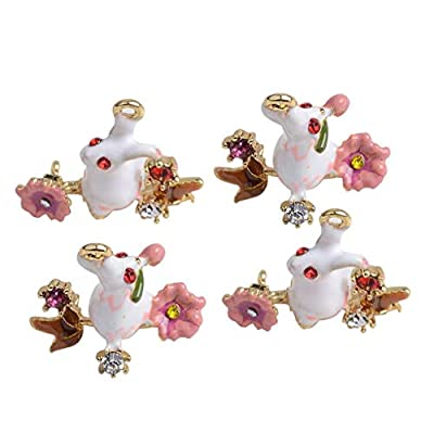 Jewelry, 4pcs Enamel Rabbit Charms Pendants DIY Earring Necklace Design P/Gift Packing Wrapping Decorations Valentine Present