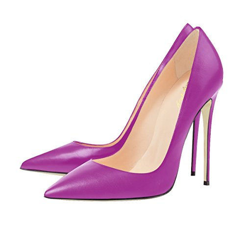 Solid Women's Court Thin Shoes SexyPrey Autumn High Toe Heels Size Spring Pointed Fuchsia Large for 4qgFw8