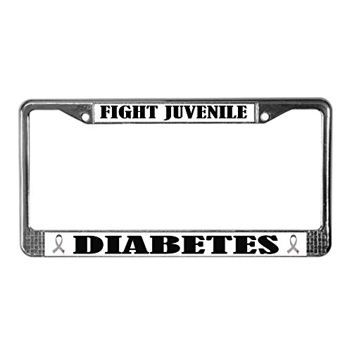 CafePress - Fight Juvenile Diabetes License Frame - Chrome License Plate Frame, License Tag Holder