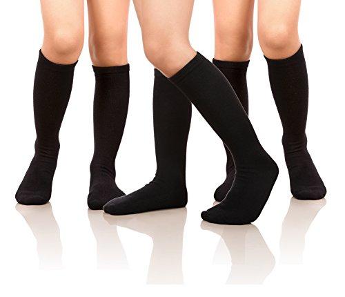 Price comparison product image MIUBEAR Girls Cotton Knee High Socks School Girls Uniform Soccer Sport Socks 3-13 Years Old Pack Of 3 (M - 6-8 Years - US Shoe - 11-1, Pack Of 3 Black)