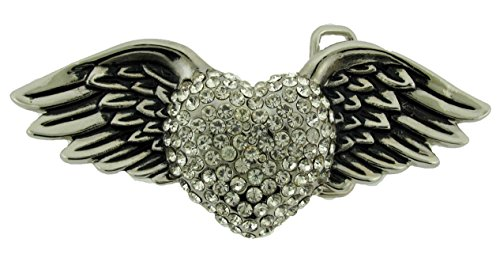 Wild Heart Wings Rhinestone Silver Metal Cowgirl Ladies Girly Women Belt ()