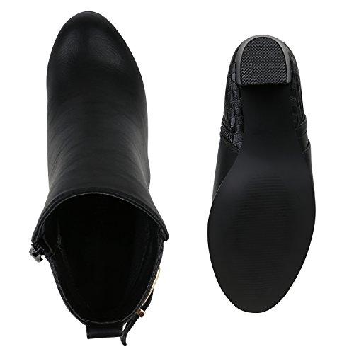 Gefütterte Damen Stiefeletten Retro Look Fell High Heels Boots Flandell Schwarz Berkley