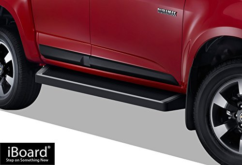 APS iBoard Black Running Boards Style Custom Fit 2015-2019 Chevy Colorado/GMC Canyon Crew Cab Pickup 4-Door (Nerf Bars | Side Steps | Side Bars)