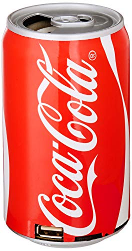 Coca-Cola Can Bluetooth Speaker, with FM Radio, Micro SD Card, USB, Aux Capabilities, 400mAh Polymer Battery, USB Charging Cable and Audio Cord Included (Radio Coke)