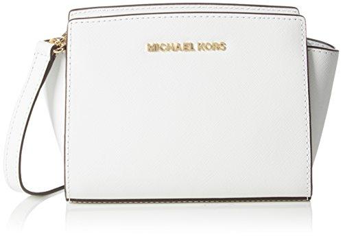 Michael Kors Damen Mini Messenger Umhängetaschen, Weiß (Optic White 085), 17x14x9 cm