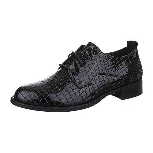 Ital-Design Damen Schuhe, H551, Halbschuhe mit Schnürung Schwarz