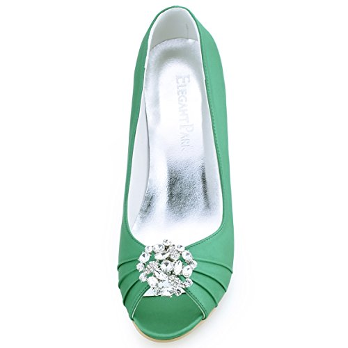 Elegantpark EP2009AH Mujer Fiesta Cuña AH Desmontable Flores Rhinestone Zapatos Clips Satén Zapatos De Boda AM Verde