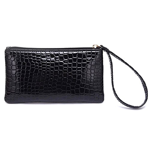 BNASA Handbag Alligator Purse Texture Black Women Bag Coin Zipper Portable Clutch Wallet rwr8pq