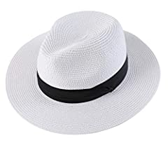 """Men Wide Brim Straw Foldable Roll up Hat Fedora Summer Beach Sun Hat UPF50+  Features   """"Lanzom"""" brand registered, all rights reserved.  Breathable Paper Straw, soft and comfortable to wear  Exquisite workmanship and neat stitching 50+ UPF an..."""