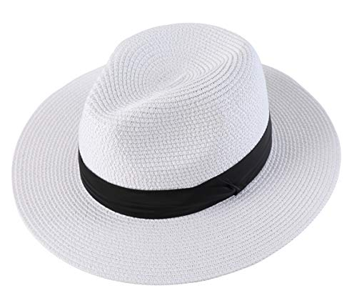 Lanzom Men Wide Brim Straw Foldable Roll up Hat Fedora Summer Beach Sun Hat UPF50+ (Style B-White, Medium Size:Fit for 22.5