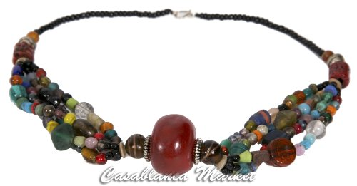Accented Clasp - Handmade Moroccan Red Accented Beadwork Necklace (with North African Glass Beads)