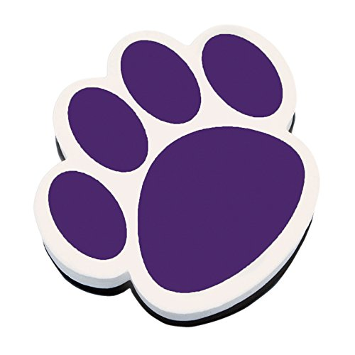 Ashley ASH10005BN Magnetic Whiteboard Eraser, Purple Paw, MultiPk 6 Each