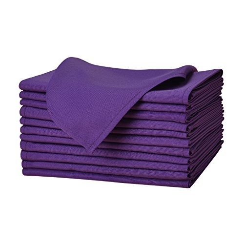 Remedios Cloth Napkins Set of 12 Pieces Solid Color Polyester Napkins Soft and Reusable Dinner Napkin for Wedding Party Restaurant Banquet Home (Purple, 17x17 inch) (Mardi Gras Napkin Rings)