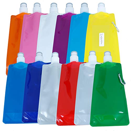 AOPOO 12 Colors Collapsible Water Bottle 76 Pieces Removable Stickers, Reusable Lightweight Leakproof Drinking Water Bottle with Clip, Freezer Labels Easy to Distinguish for Travel