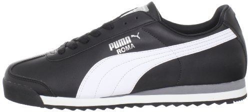 PUMA Men's Roma Basic Fashion Sneaker, Black/White/Silver - 13 D(M) US