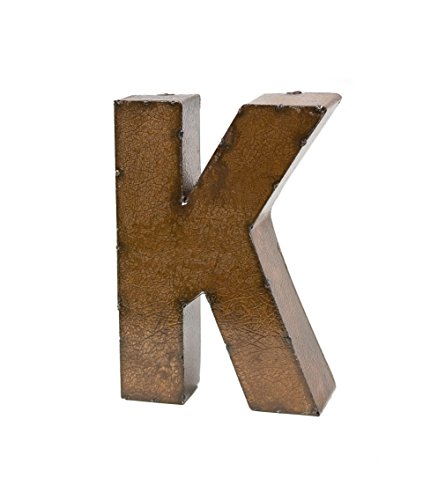 Rustic Arrow Letter K for Decor, 9-Inch, Brown (Metal Letter K)
