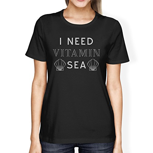 Manches Shirt 365 Courtes shirt I Black T Printing Need Vitamin Femme Sea 6nwq7S