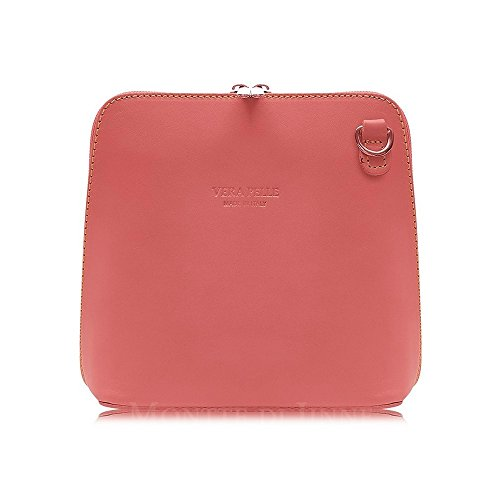 Shoulder Black Bag Rose Coral Handbag Body Cross in Genuine or Leather Italian Small wvqnx10H