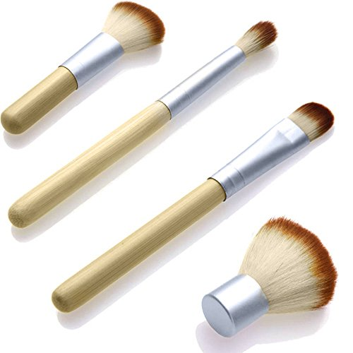 EYX Formula Set of 4 Pcs Bamboo Handle Makeup Cosmetic Brushes,Portable Essential Makeuo tool Cosmetic Brush Set with a Bag for women