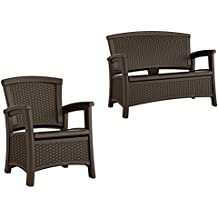 Suncast Elements Wicker Design Loveseat with Storage + Club Chair, Java (2)