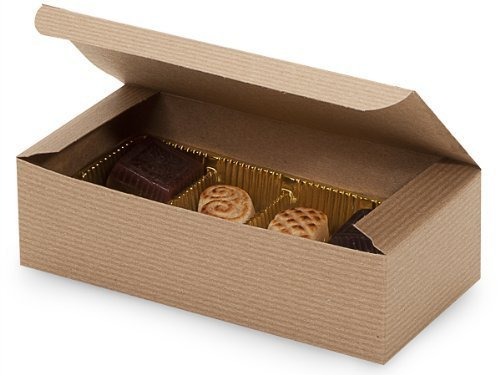 (Set of 10 - 1 Pound Kraft Tan Candy Wedding Party Favor Boxes 7 Inch x 3-3/8 Inch x 2 Inch)
