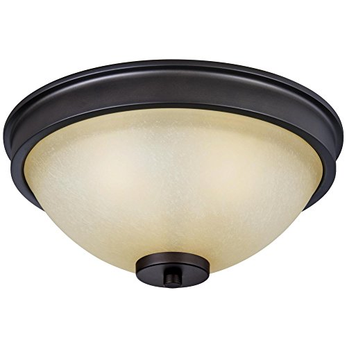 Westinghouse Lighting 6341400 Karah Three-Light Indoor Flush Ceiling Fixture, Oil Rubbed Bronze Finish with Aged Amber Scavo Glass