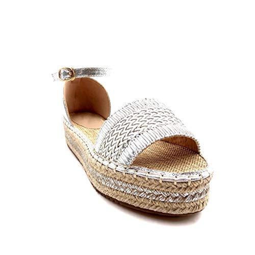 Angkorly Plat Ouvert Argent Mode Chaussure Talon De La Plateforme Femme Avec Tressé Cm 4 Mule Sandale Paille fAFfqrw
