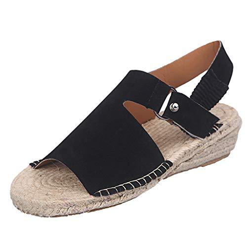Kauneus Women's Platform Sandals Casual Espadrilles Flatform Ankle Buckle Strap Open Toe Slingback Summer Sandals -