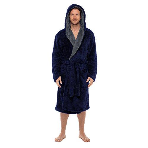 Regency New York Coral Fleece Robe (Small/Medium, Navy Contrast Grey Hooded) -