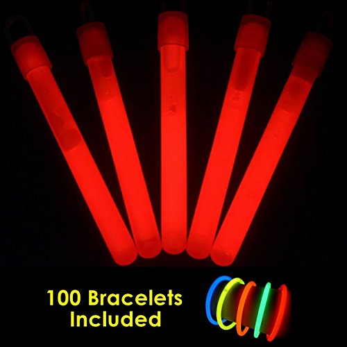 "Glow With Us Glow Sticks Bulk Wholesale, 100 4"" Red Glow Stick Light Sticks+100 FREE Glow Bracelets! Bright Color, Kids love them! Glow 8-12 Hrs, 2-year Shelf Life, Sturdy Packaging, Brand"
