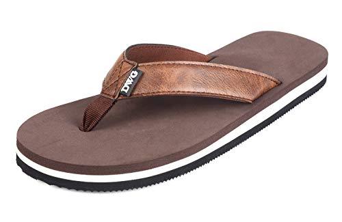 Men's Flip Flops Beach Sandals Lightweight EVA Sole Comfort Thongs (11 M US, ⑤Brown PU)