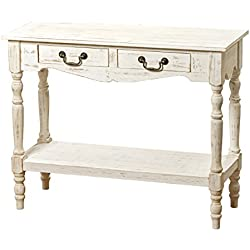 Whole House Worlds The French Country Style 2 Drawer Console Table, Shabby Chic Distressed Finish, Creamy Wood, Brass Hardware, Over 3 Ft. Wide, By