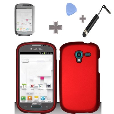 Zizo-TM-Rubberized-Solid-Red-Color-Snap-on-Solid-Case-Hard-Case-Skin-Cover-Faceplate-with-Screen-Protector-Case-Opener-and-Stylus-Pen-for-Samsung-Galaxy-Exhibit-T599-T-Mobile