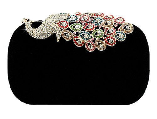 Clutch Black Rhinestone Women niceeshop Party Peacock TM Bags Velvet Evening zYT4wTq